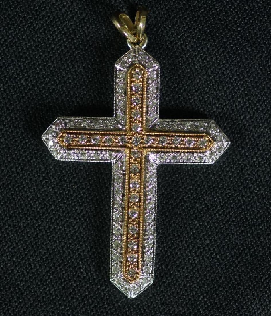 18KT YELLOW & WHITE GOLD DIAMOND CROSS PENDANT