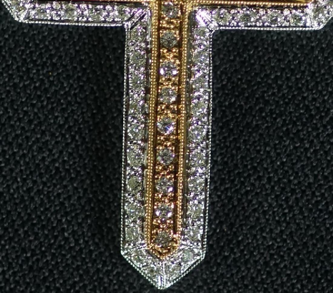 18KT YELLOW & WHITE GOLD DIAMOND CROSS PENDANT - 3