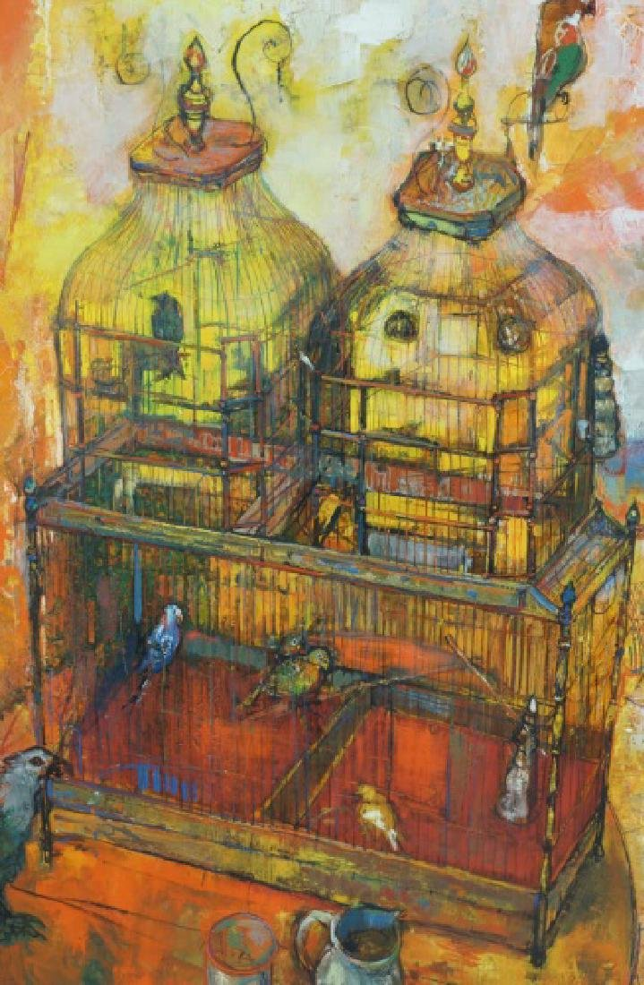 SIGNED CONTEMPORARY BIRDHOUSE OIL ON CANVAS - 2