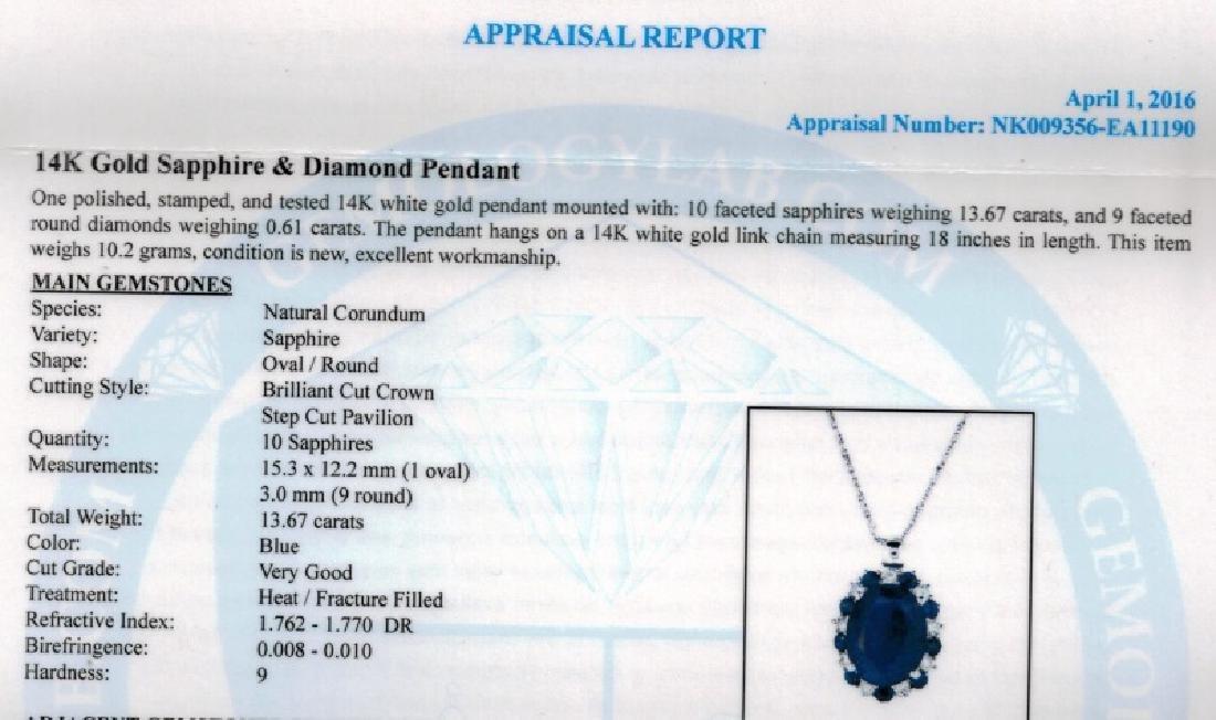 14KT GLD 13.67CT SAPPHIRE & 0.61CT DIAMOND PENDANT - 3