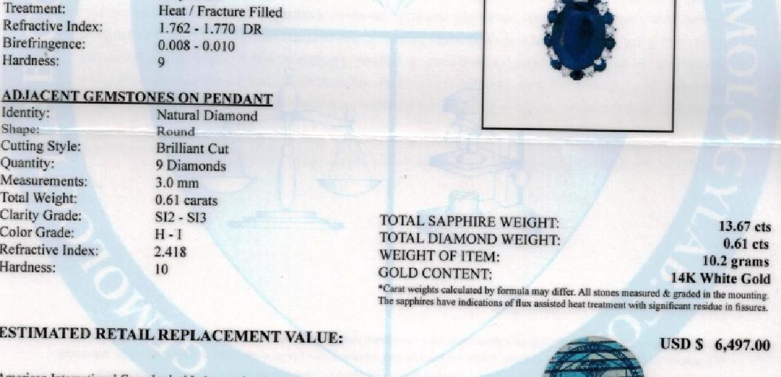 14KT GLD 13.67CT SAPPHIRE & 0.61CT DIAMOND PENDANT - 4