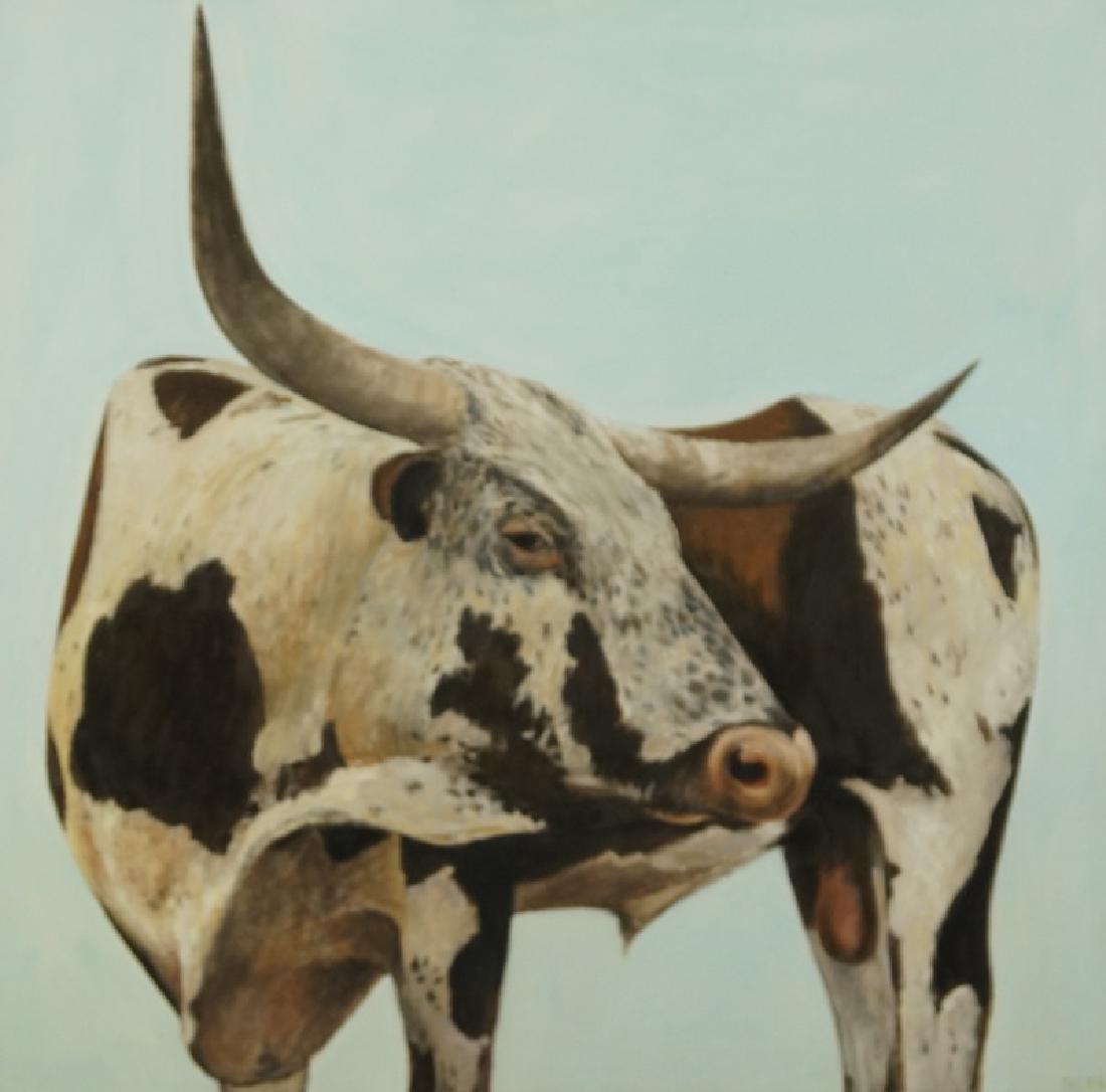 "HERBERT MEARS (NYC, 1923-1999) ""LONGHORN'"" OIL/CANVAS - 2"
