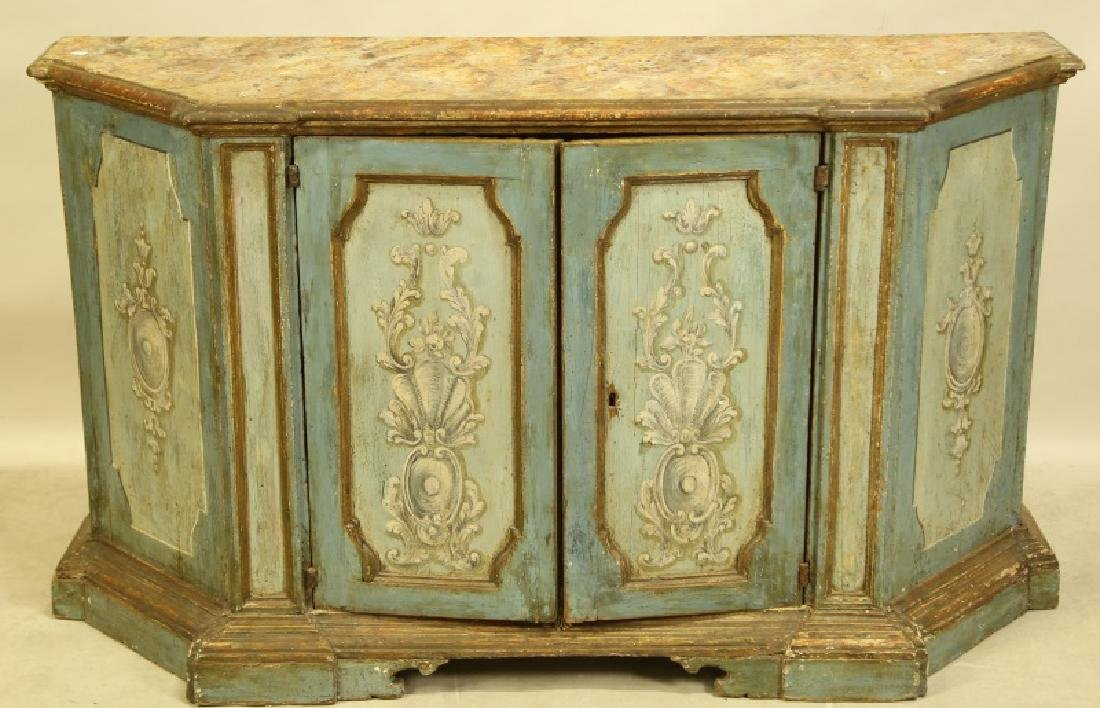 ANTIQUE ITALIAN PAINTED FAUX MARBLE TOP CABINET
