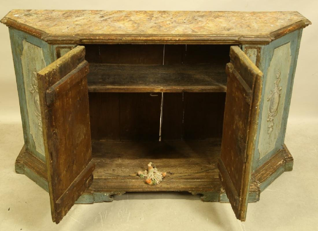 ANTIQUE ITALIAN PAINTED FAUX MARBLE TOP CABINET - 2