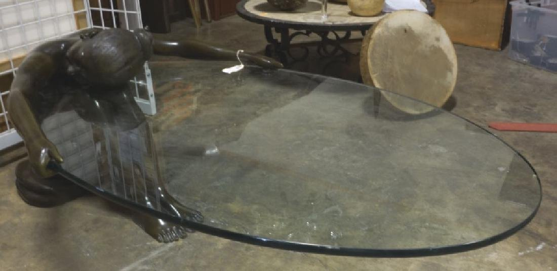 SIGNED BRONZE SCULPTURE BASE & GLASS TABLE