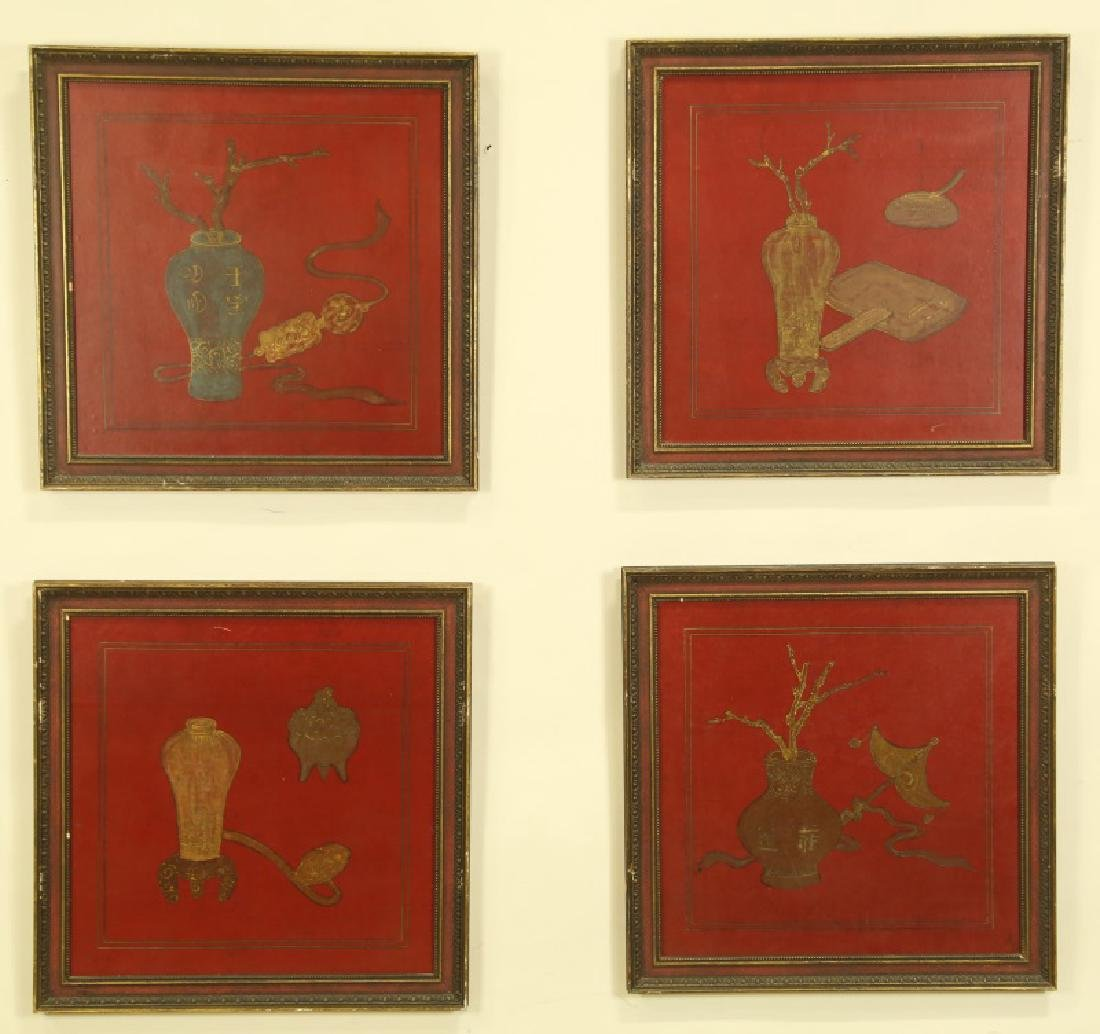 LOT FOUR DECORATIVE CHINESE STYLE PAINTED PANELS