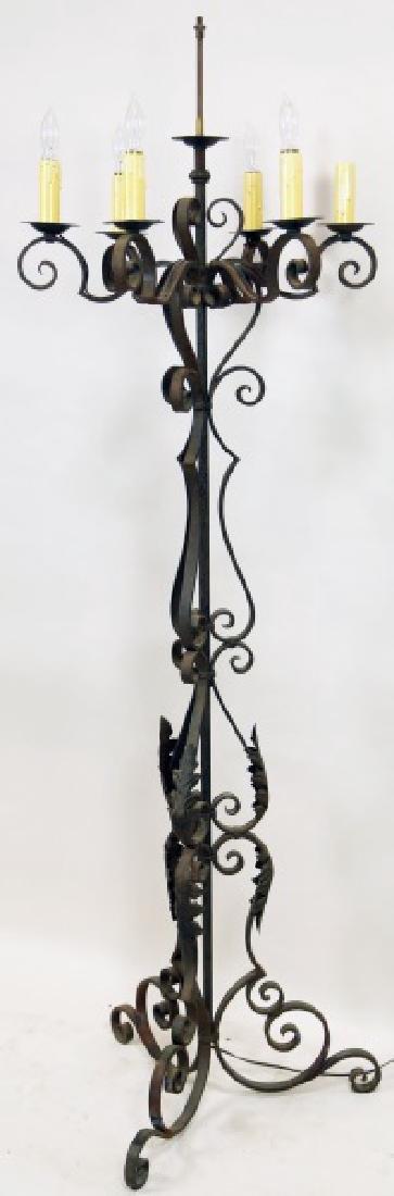 ANTIQUE WROUGHT IRON FLOOR LAMP - 2