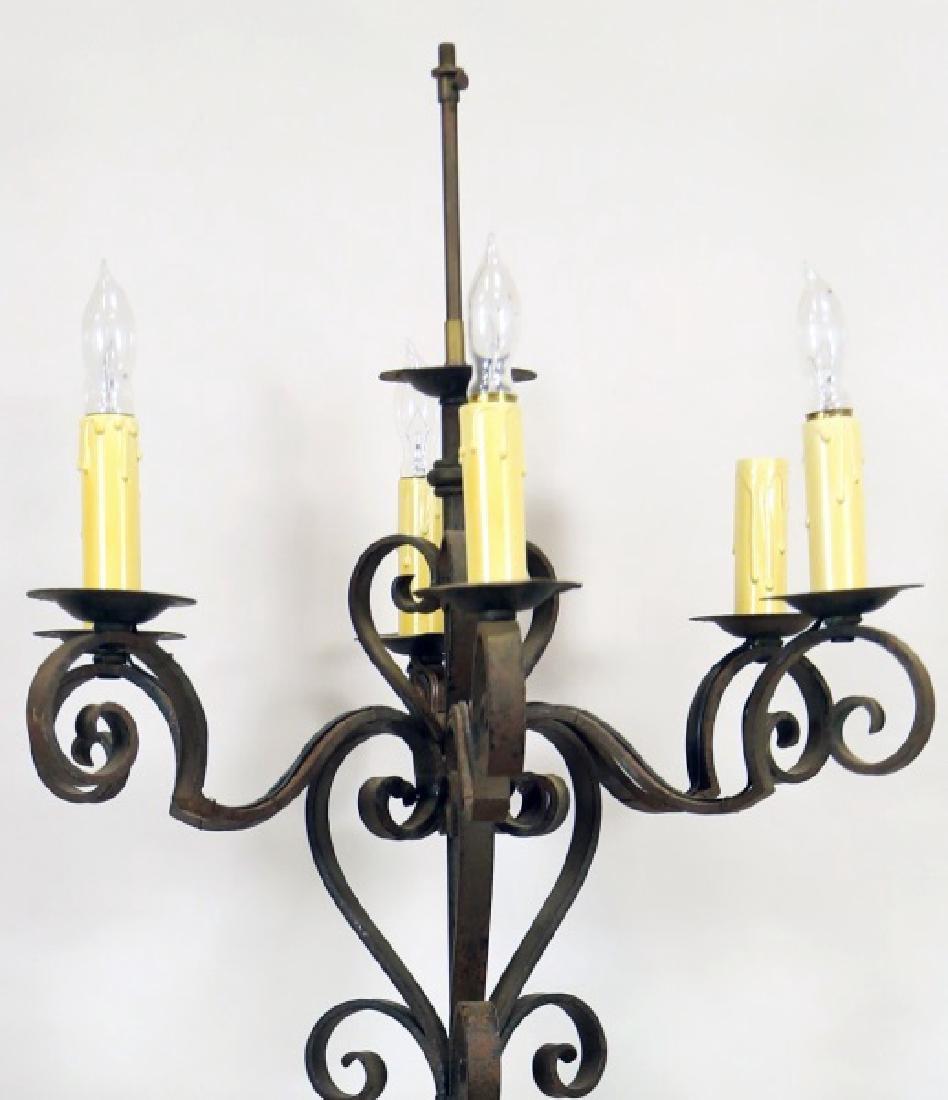 ANTIQUE WROUGHT IRON FLOOR LAMP - 3