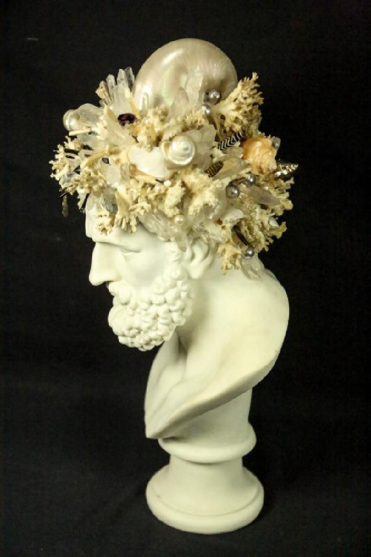 GROTTO ART SEASHELL & CRYSTAL NEPTUNE BUST - 2