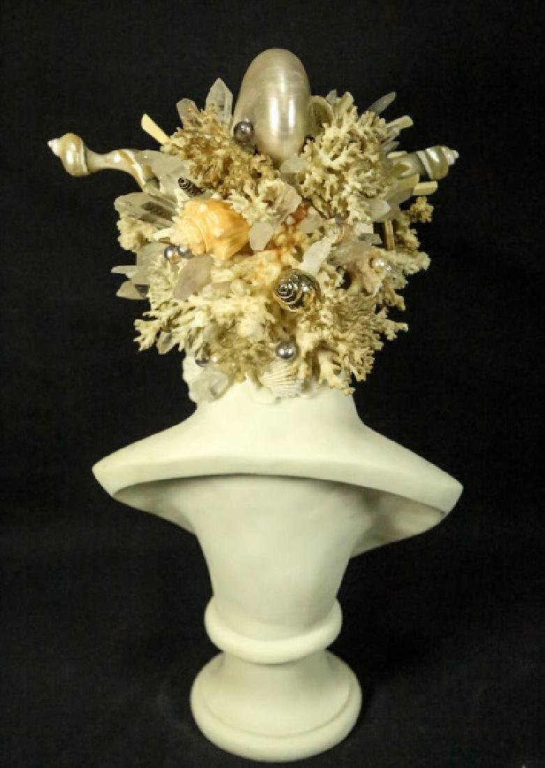 GROTTO ART SEASHELL & CRYSTAL NEPTUNE BUST - 3