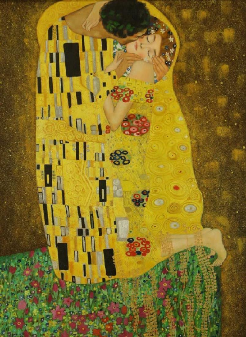 "IN THE STYLE OF GUSTAV KLINT  ""THE KISS"" ACRYLIC ON CAN"