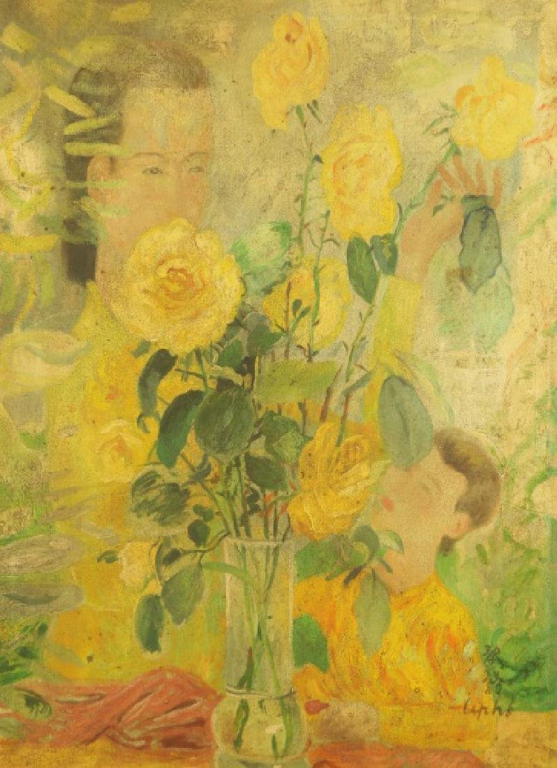 ATTRIBUTED TO LE PHO (1907-2001) ABSTRACT FLORAL OIL