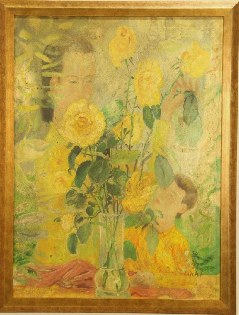 ATTRIBUTED TO LE PHO (1907-2001) ABSTRACT FLORAL OIL - 2