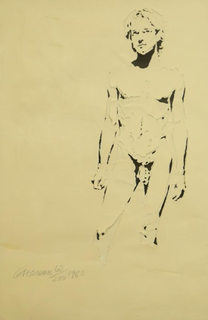 GASSOUMIS NUDE MALE MIXED MEDIA, #62/200, 1980