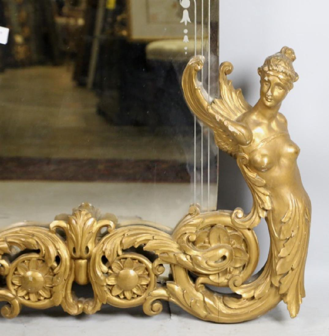 PERIOD FRENCH ART DECO CARVED & GILT FRAMED MIRROR - 4