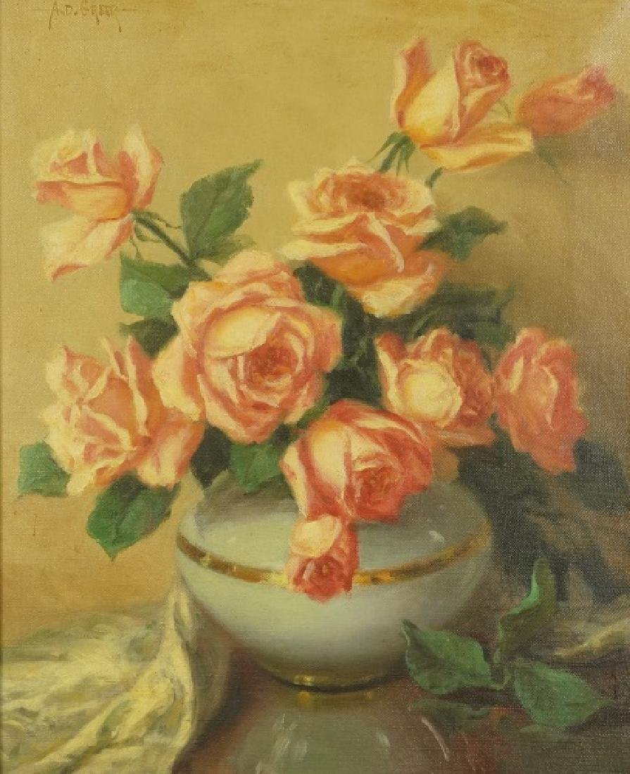 A. D. GREER STILL LIFE FLORAL OIL ON CANVAS