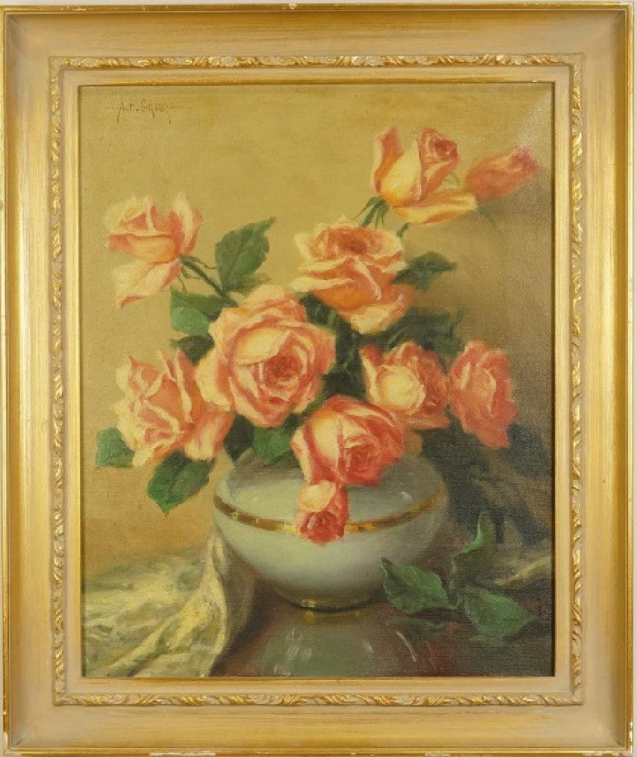 A. D. GREER STILL LIFE FLORAL OIL ON CANVAS - 2