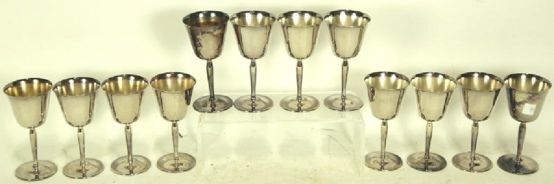 LOT OF 12 SILVER PLATED WINE GOBLETS