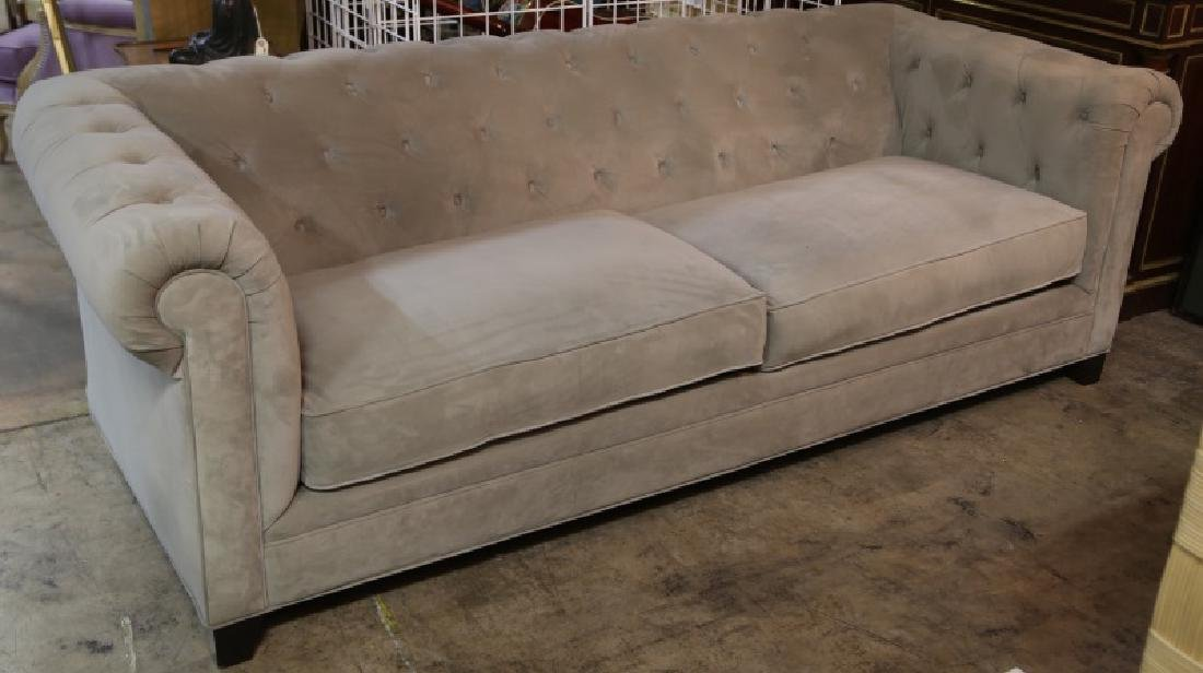 MARTHA STEWART COLLECTION VELVET CHESTERFIELD SOFA