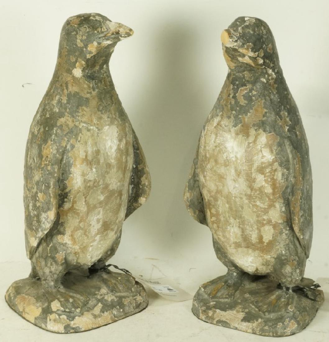 PAIR OF WOOD CARVED PENGUINS