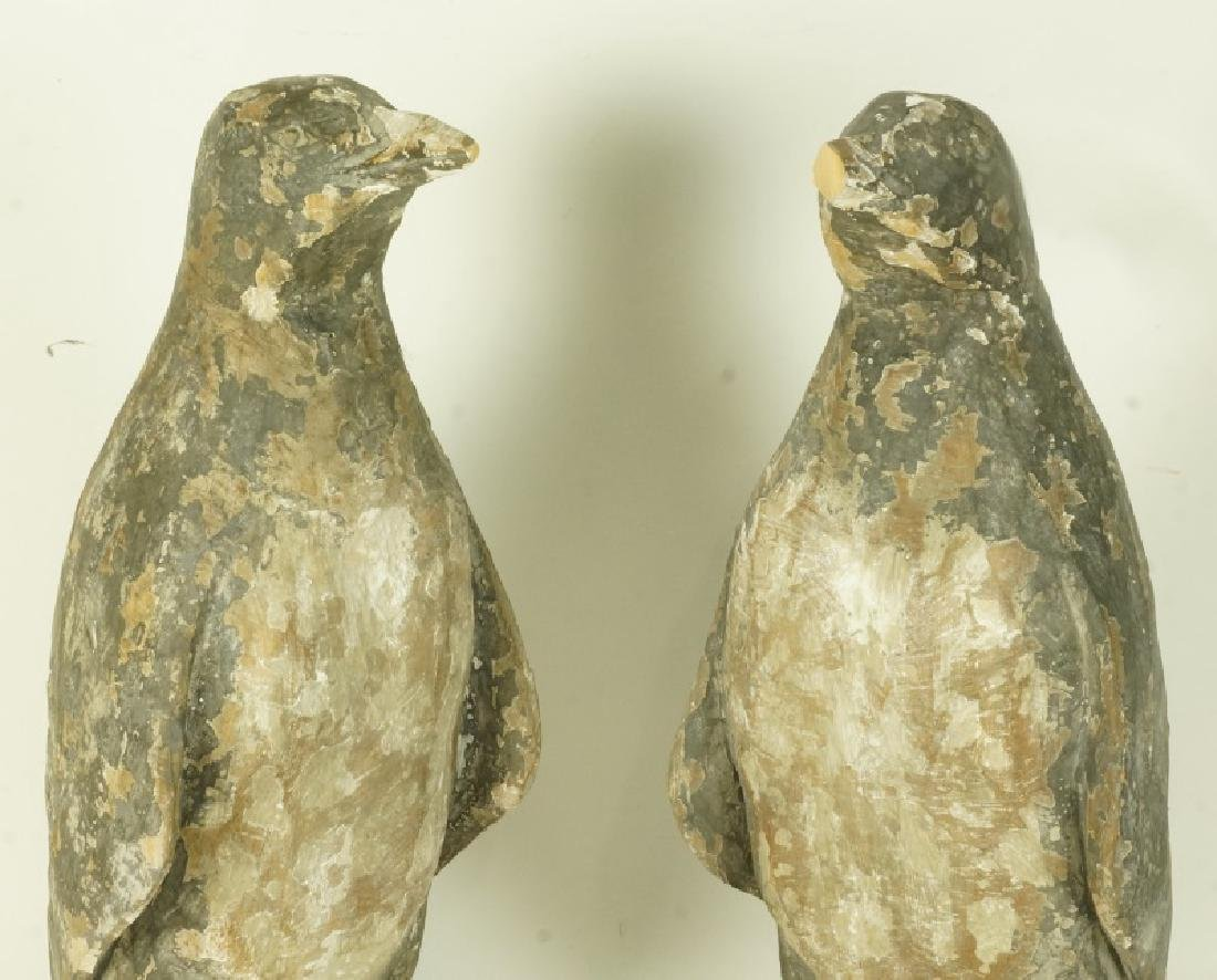 PAIR OF WOOD CARVED PENGUINS - 2