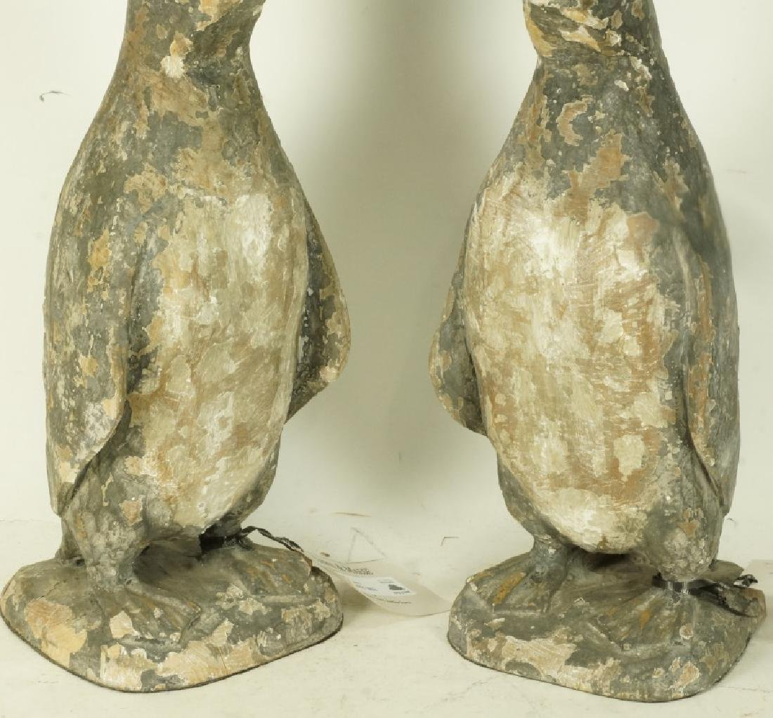 PAIR OF WOOD CARVED PENGUINS - 3