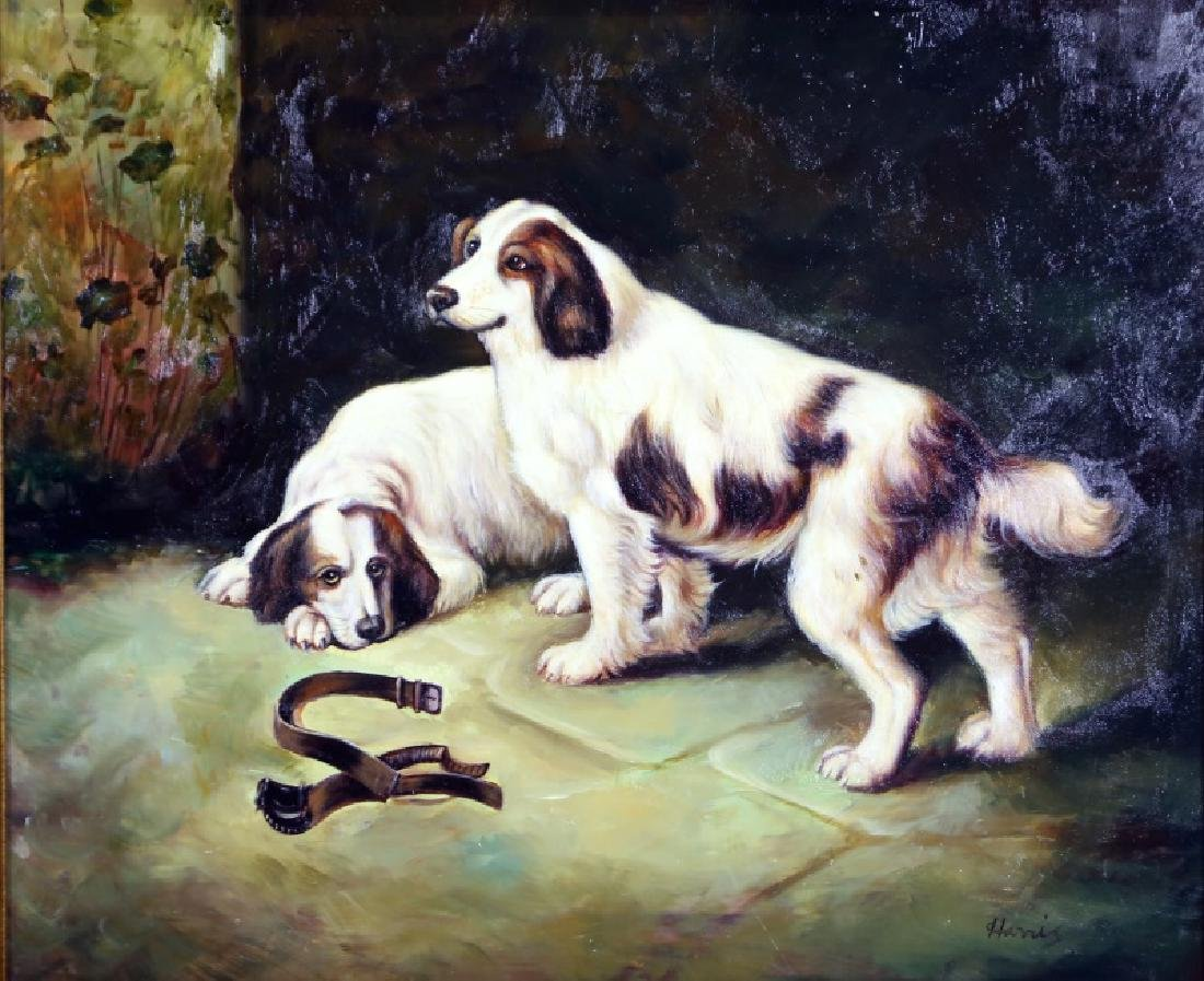 "HARRIS ""UNTITLED DOGS"" OIL ON CANVAS PAINTING"