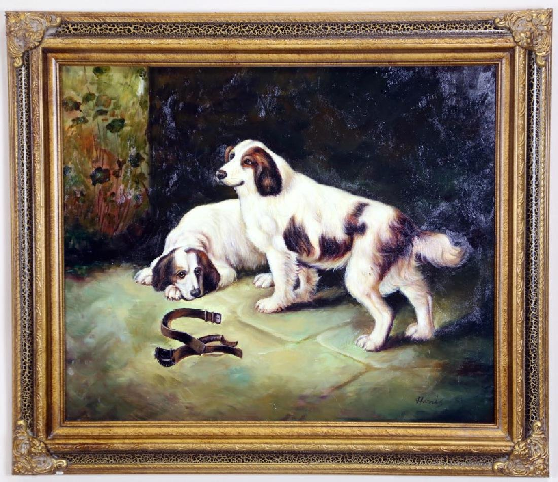"HARRIS ""UNTITLED DOGS"" OIL ON CANVAS PAINTING - 2"