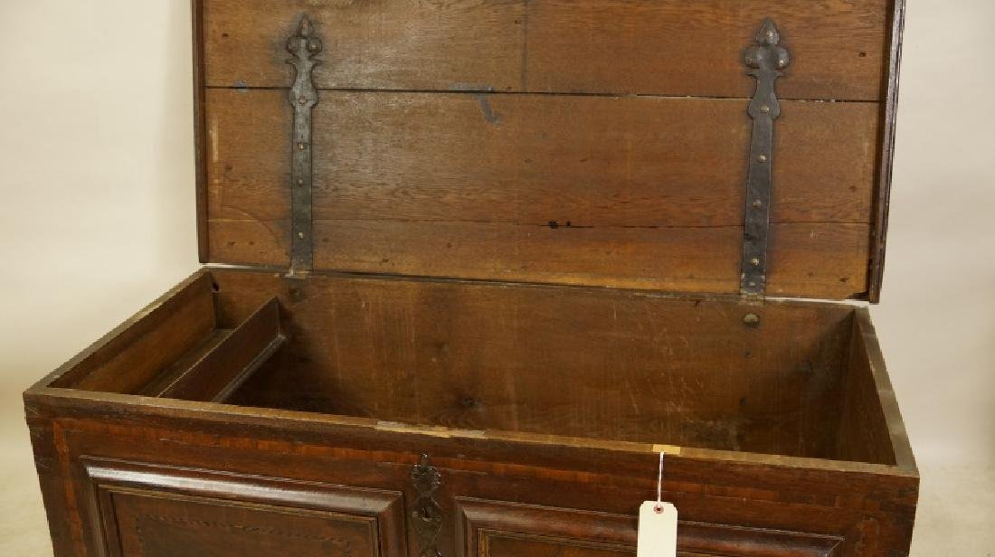 ANTIQUE PANELED WOODEN TRUNK - 3