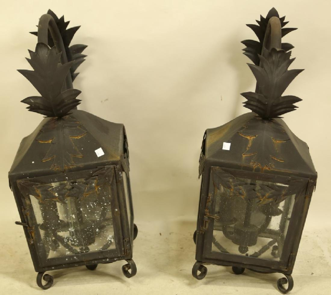 PAIR OF BLACK IRON WALL MOUNT LANTERNS