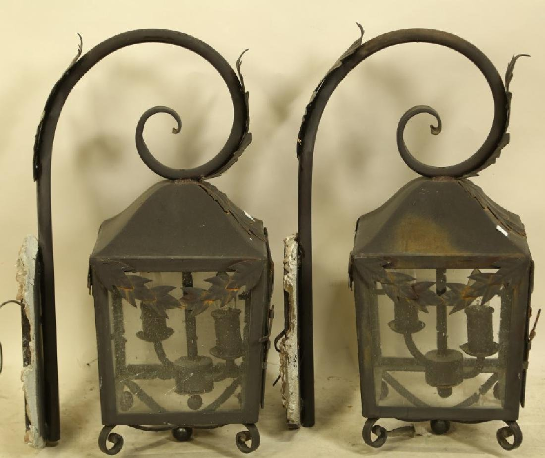PAIR OF BLACK IRON WALL MOUNT LANTERNS - 2