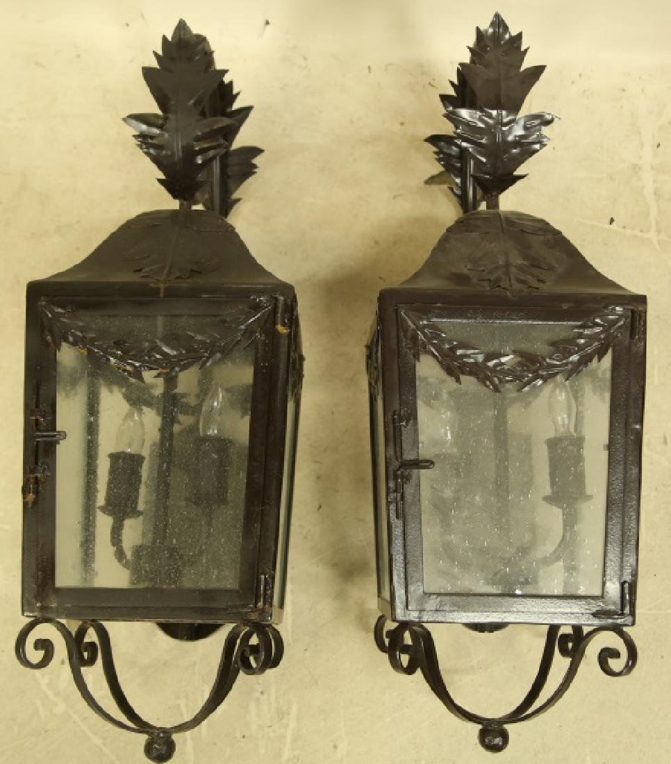 PAIR OF BLACK IRON WALL MOUNT LANTERNS - 3