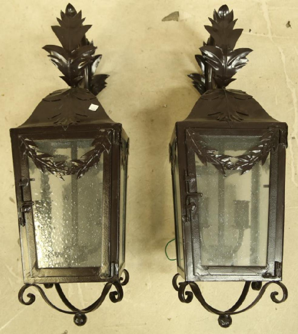 PAIR OF BLACK IRON WALL MOUNT LANTERNS - 4