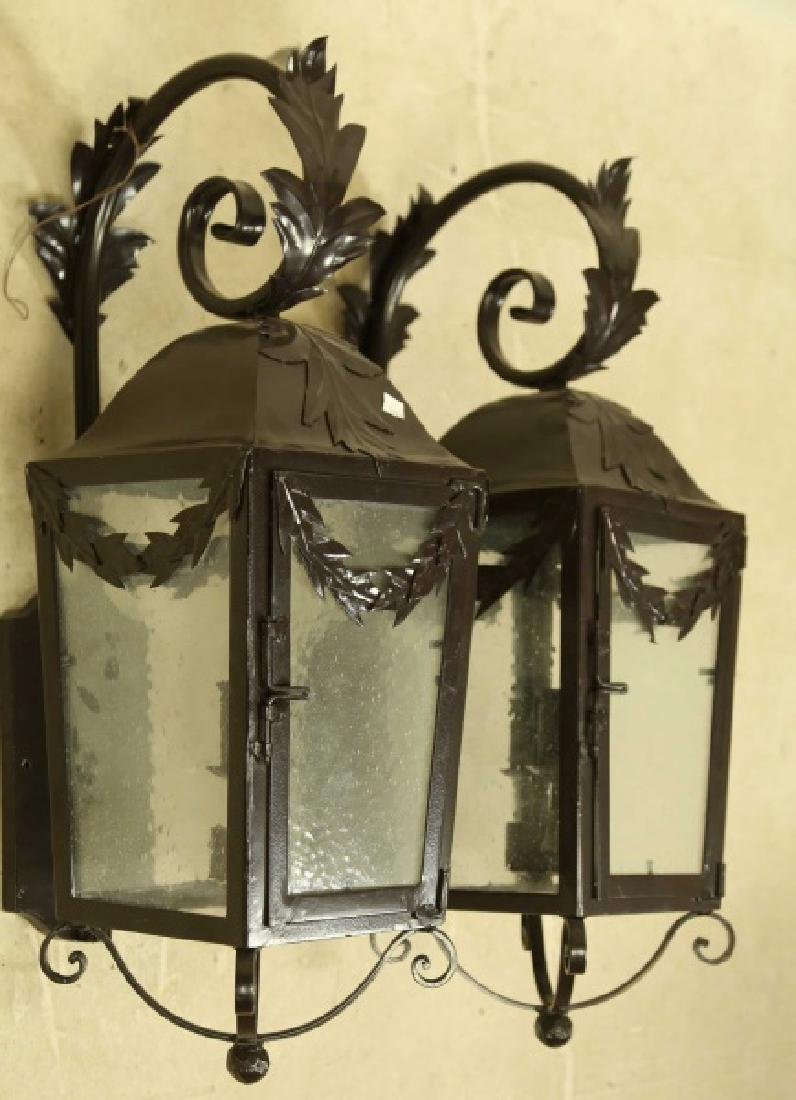 PAIR OF BLACK IRON WALL MOUNT LANTERNS - 5