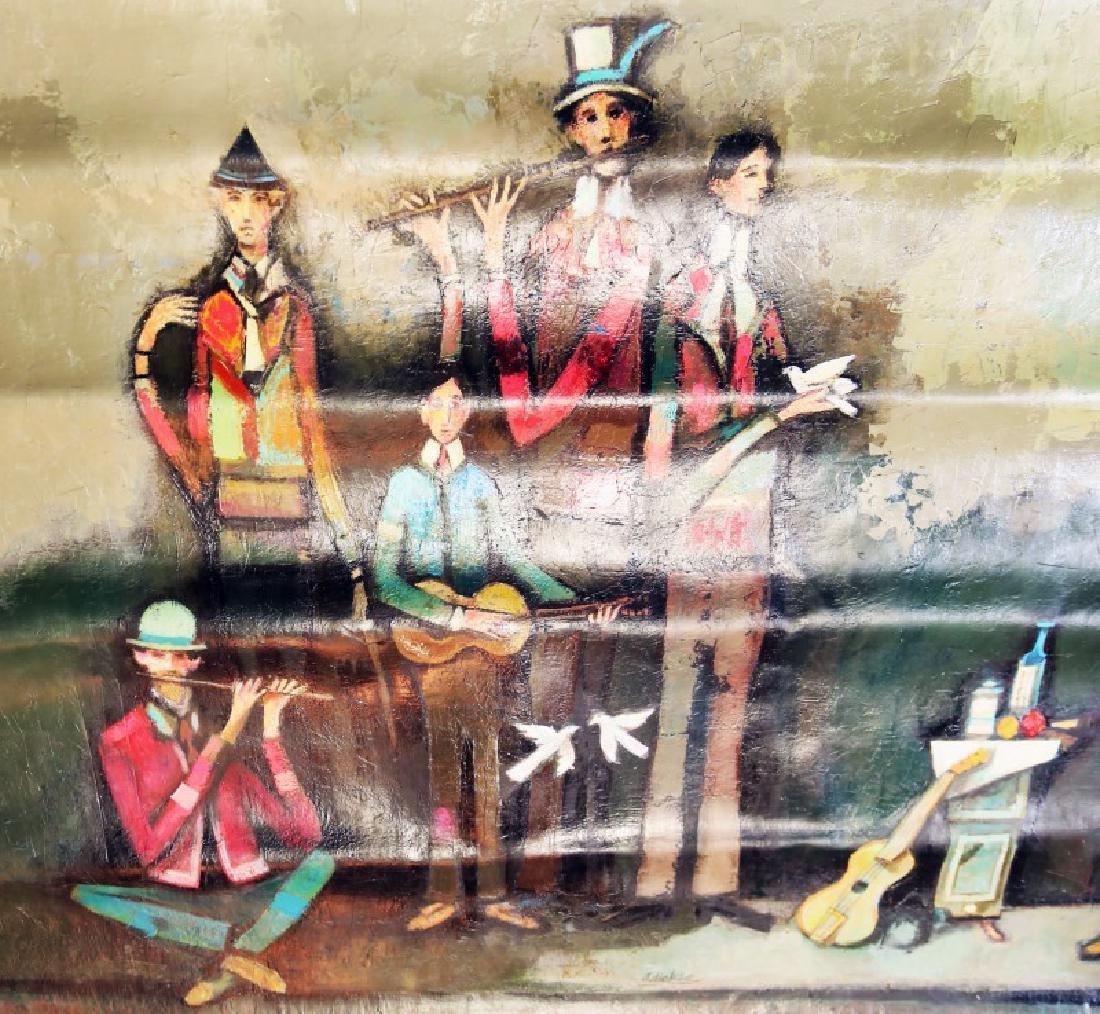"DAVID ADICKES ""MUSICIANS"" ORIGINAL OIL ON CANVAS"