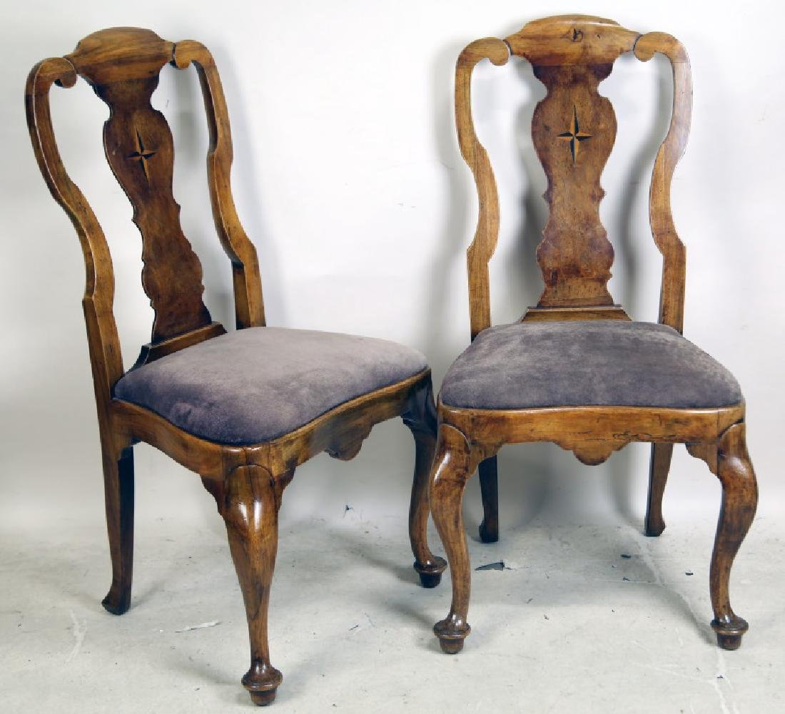 PAIR OF QUEEN ANNE WALNUT SIDE CHAIRS WITH STAR INLAY