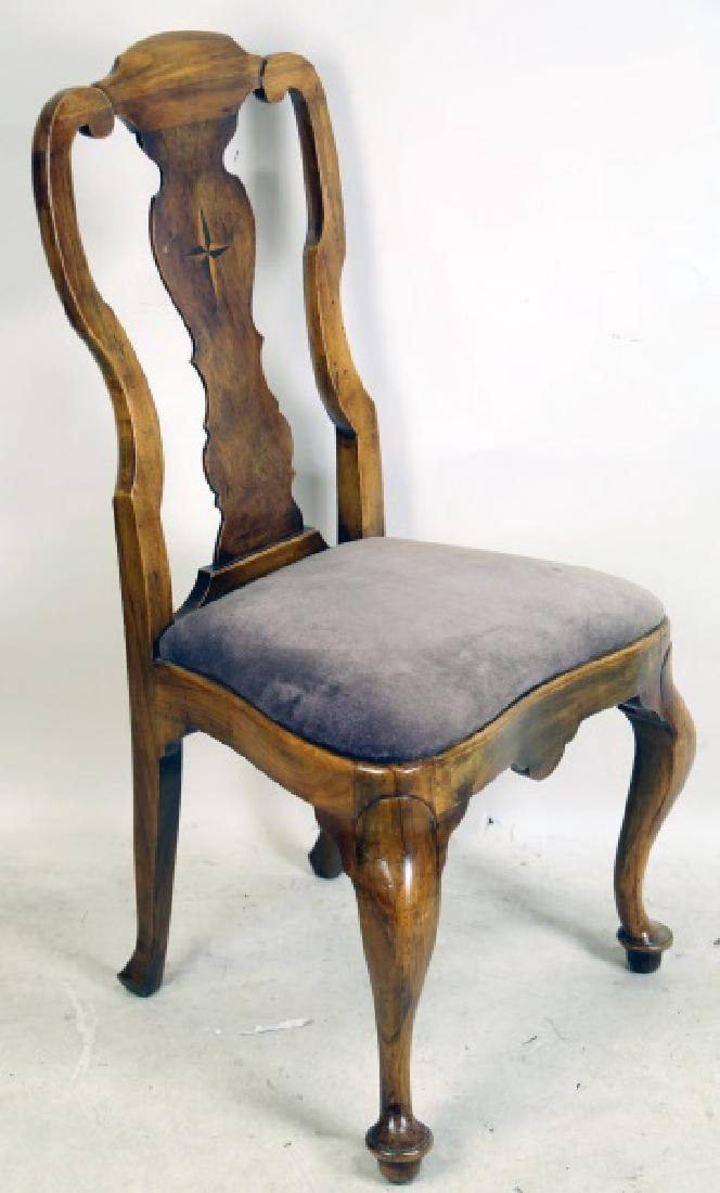 PAIR OF QUEEN ANNE WALNUT SIDE CHAIRS WITH STAR INLAY - 2