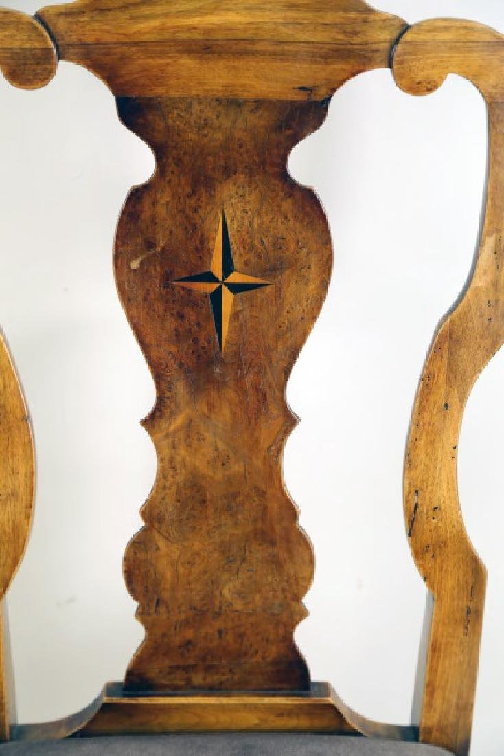 PAIR OF QUEEN ANNE WALNUT SIDE CHAIRS WITH STAR INLAY - 3