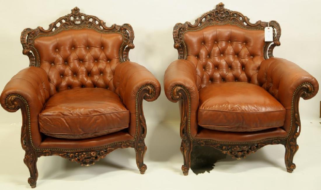 PAIR OF BUTTON TUFTED ROCOCO STYLE LEATHER ARMCHAIRS