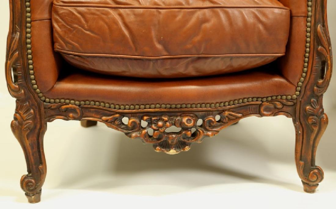 PAIR OF BUTTON TUFTED ROCOCO STYLE LEATHER ARMCHAIRS - 2