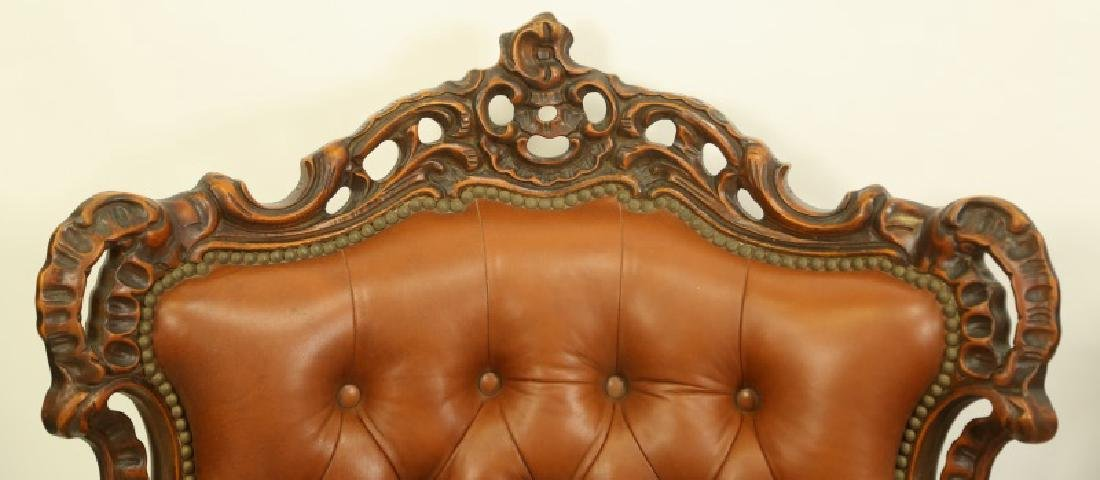 PAIR OF BUTTON TUFTED ROCOCO STYLE LEATHER ARMCHAIRS - 3