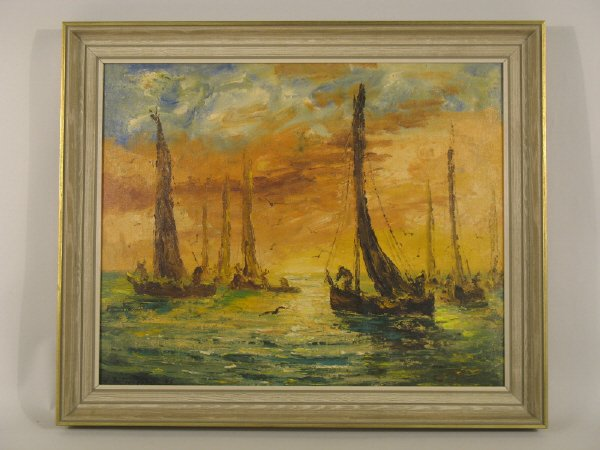 1: Oil on canvas of harbor scene