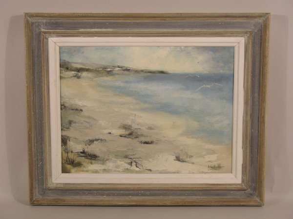2: Oil on canvas of beach scene. Signed by Joe Willia