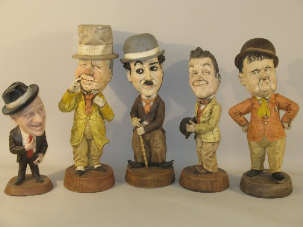 3: Five figurines, Laurel and Hardy, Jimmy Durante, W