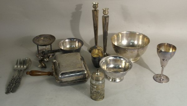 18: Silver plate goblet, pair of candlesticks, etc.