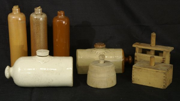 20: Box lot of various ceramic pieces and churns