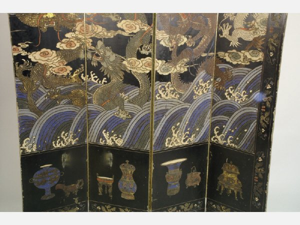 267: Antique Japanese 8-panel screen made from seaweed
