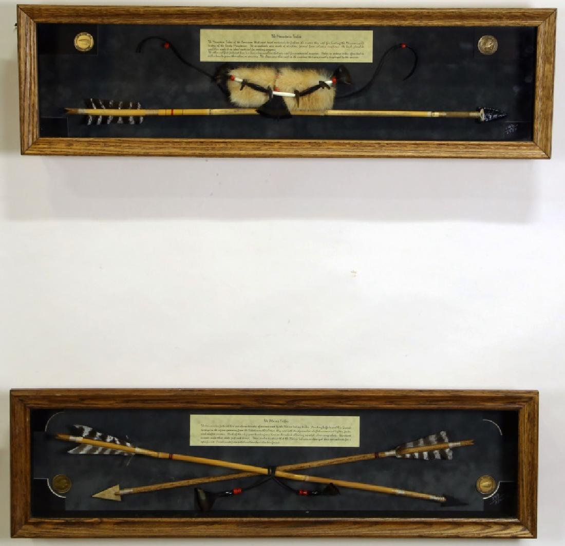 PAIR OF NATIVE AMERICAN TRIBAL ARROW SHADOW BOX