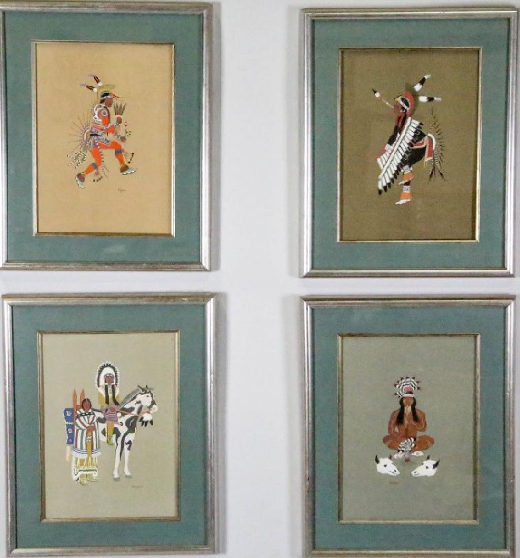 FOUR NATIVE AMERICAN OFFSET LITHOGRAPHS BY STEPHEN