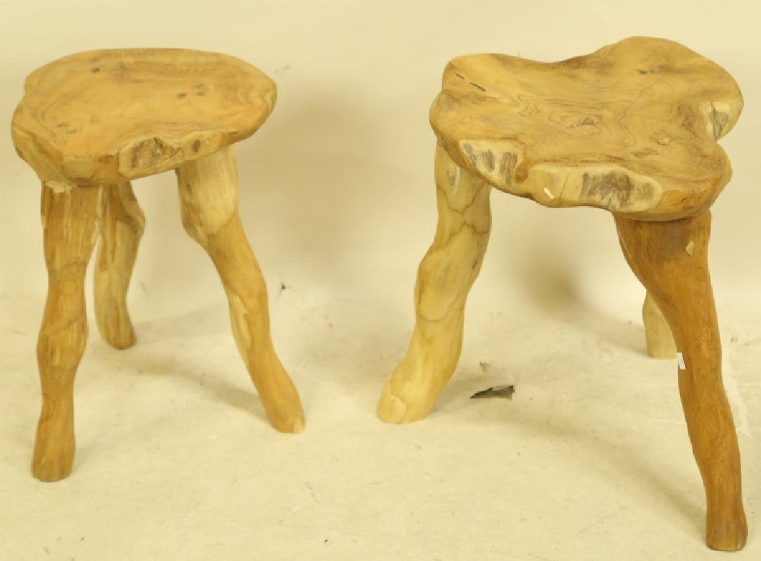 PAIR OF WOOD CARVED STOOLS